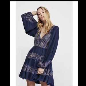 "FP▪️""MY LOVE"" Mini Boho Dress. S in Blue"